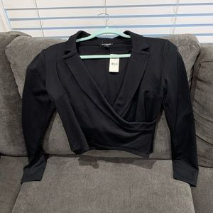 EXPRESS Lapel Wrap Long Sleeve - Cropped size S
